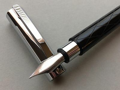 Faber-Castell, Ambition, Fountain Pen, Rhombus-Guilloche, Medium, Germany, NEW