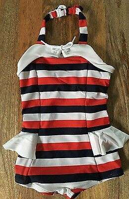 Nwt Janie And Jack Girls' white Striped Red Navy Retro Swimsuit, 5