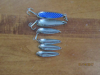 """Lot of 6 Luhr Jensen Krocodile Freshwater Spoon Lures - Two 3 1/8"""" & Four 2 5/8"""""""
