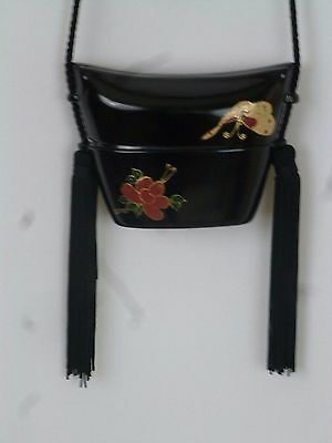 Vintage Hand Painted Black Lacquer Chinese Scent Box Bag Purse W Silk  Tassels
