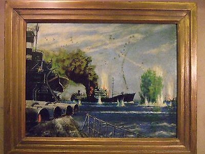 Malta W.W.2 Military Oil painting of SS Ohio during Operation Pedestal