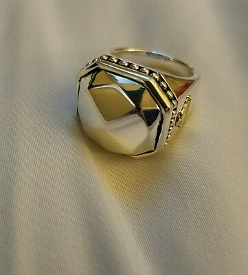 $350 LAGOS Sterling Silver Rocks Octagon Ring Size 7