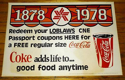 ORIG SIGN CANADIAN NATIONAL EXHIBITION CNE 1978 Loblaws Coca-Cola COKE Toronto