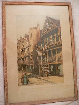 Louise Rayner (1832-1924).  Etching. Watergate Street, Chester.