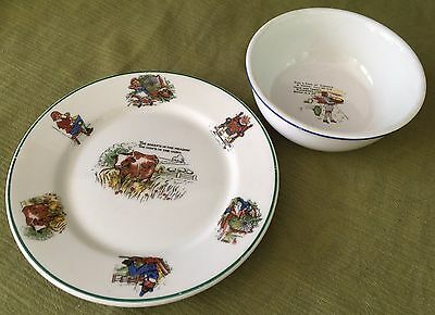 VINTAGE 1940 Nursery Rhyme WARWICK CHINA CHILDREN'S PLATE+ VONS Advertising BOWL