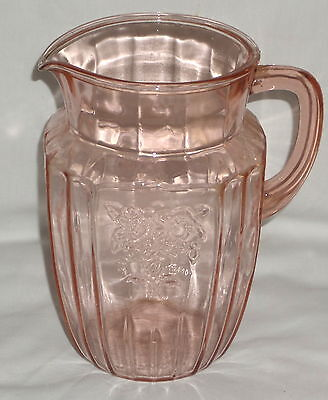 "Anchor Hocking MAYFAIR/OPEN ROSE PINK *8"" 60 oz WATER PITCHER*"