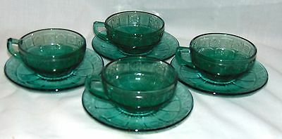4 Jeannette DORIC & PANSY ULTRAMARINE *CHILD'S CUPS & SAUCERS*