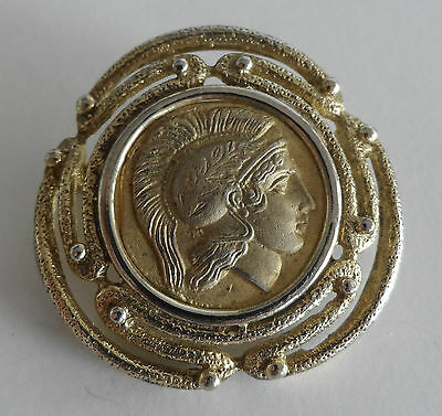 Antique Vintage Roman Coin Solid Sterling Silver Gold Plate Stamped Brooch Pin