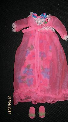 1968 Francie Mod  #1212 Night Blooms Nightgown Robe Slippers Barbie Excellent