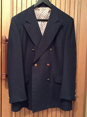 Vintage Navy Blue Double Breasted Blazer Sport Coat Paisley Lining 42 1970's