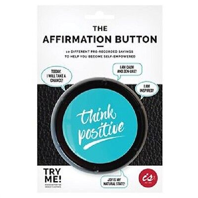 The Affirmation  Button - Think Positive With 10 Pre Recorded Quotes - Gift