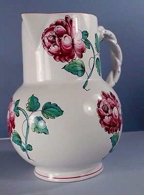 French Faience Type STRASBOURG FLOWERS Figural Handle Pitcher for TIFFANY & CO