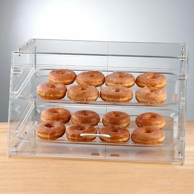 NEW! 2 Tray Bakery Display Case Front Rear Door Donut Cookie Pastry Hotel Store
