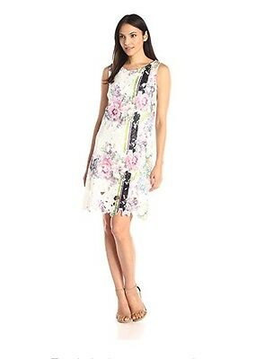 Donna Ricco Womens New Sleeveless Floral Print Lace Party Cocktail Dress 16