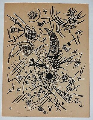 Kandinsky Bauhaus School Freestyle Abstract Ink Drawing monogram signed k