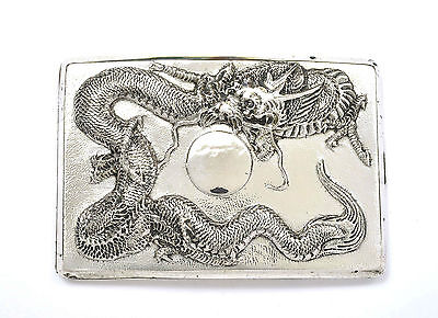 Early 20C Chinese Japanese Gilt Sterling Silver Cigarette Box Case Dragon 134g