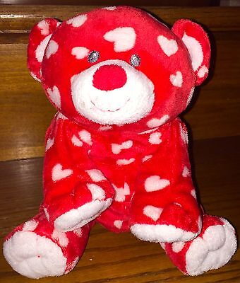2011 Ty Pluffies Plush Teddy Bear Red Hearts DREAMLY Valentine's Day