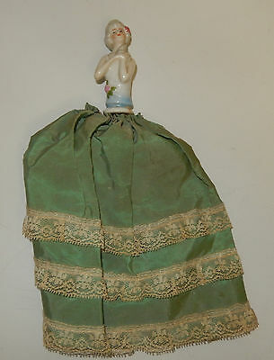 Antique Half Doll Pin Cushion Doll Arms Folded Across Chest In Dress
