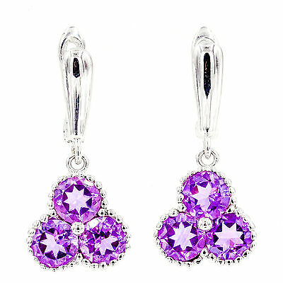Rare! Earth Mined 6Mm Aaa! Amethyst Natural Gemstone Sterling Silver 925 Earring