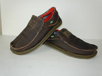Men's Sanuk Brown Leather Fashion Loafers Shoes Size 10