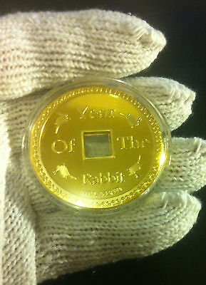 """1.2 Oz Chinese """"Year Of The Rabbit""""  Coin Finished with 999.0 24k Gold"""