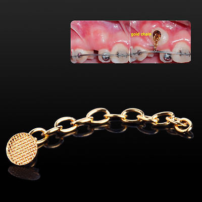2 Pcs Dental Orthodontic Golden Round Mesh Base Lingual Buttons w Traction Chain
