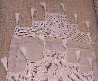 Antique Ecru Linen White Crochet Trim and Tassels Runner