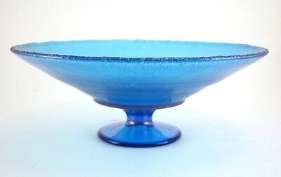 Northwood Blue Stretch Glass Low Comport Compote #654