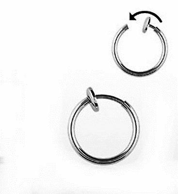 X4 Silver Tone Joke Fake Nose Lip Rings Free Postage Goth Gothic Emo Pair Funny