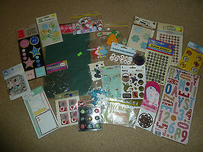 Bulk Lot Scrapbooking Stickers, Embellishments, Die Cuts, Over 500 Pieces