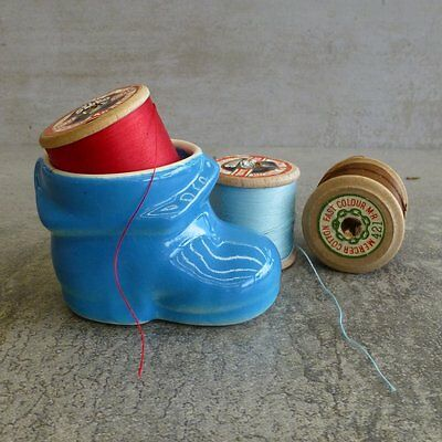 Vintage Egg Cup Blue Boot made in Australia has original sticker on base Retro