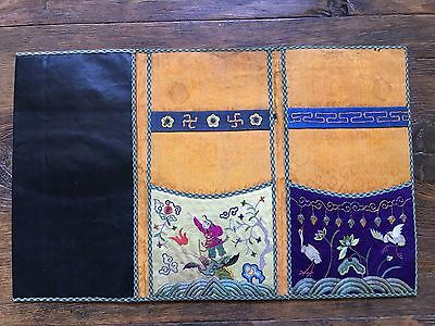 19th Cent Chinese Leather Wallet /Pouch with embroidery pictures inside