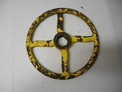 "Vintage Made in CANADA  Iron 14"" Yellow Industrial Steampunk Hand Valve Wheel"