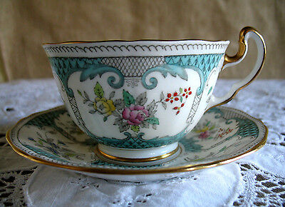 Antique Adderley Cup & Saucer Hand Painted Fine Bone China 'Lowestoft'