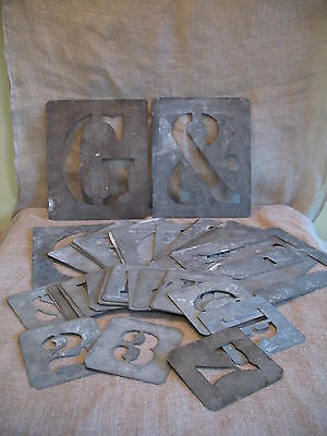 """37 x VINTAGE METAL STENCILS LETTERS & NUMBERS - PLATES 8"""" HIGH"""