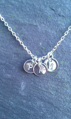 """3xHandmade Sterling Silver Personalised Initial-Charm-Discs 18"""" Necklace Pendant"""