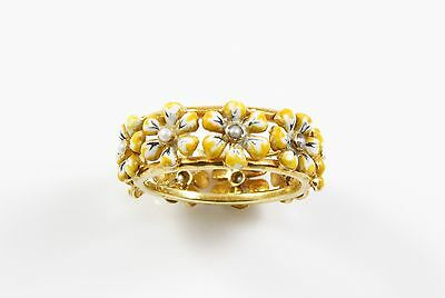Vintage Estate 10K Gold Enamel Pansy Band Ring With Seed Pearl Accents Size 6.25