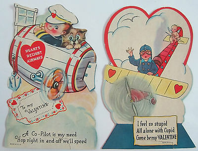 2 Vtg 1930s Valentines Day Cards Airplane Prop Plane Aviation Pilots Cupid Dog