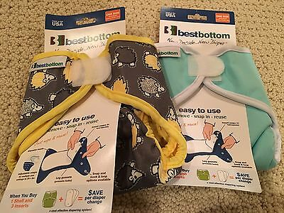 Best Bottoms Cloth Diaper Covers Lot Of Two Hedgehogs One Size Velcro New NWT