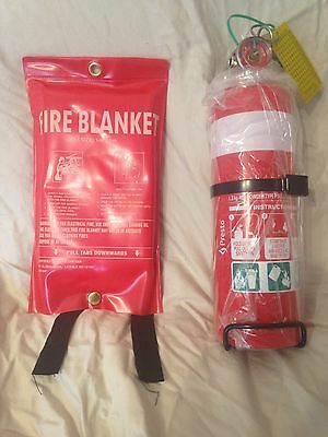 1kg Dry Chem Powder Fire Extinguisher AND 1 metre X 1 metre Fire Blanket combo