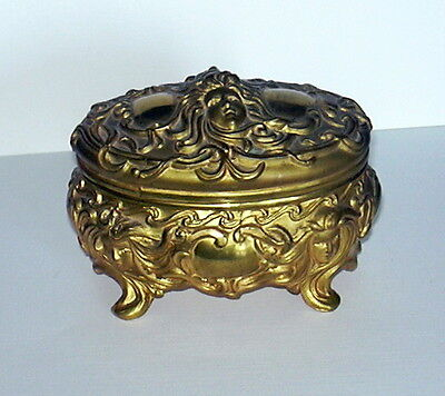 Antique Jewelry Casket Gold Metal Art Nouveau Style Vanity Ex Nr