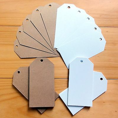 "50 x LARGE GIFT TAGS SMOOTH WHITE/KRAFT/SHIMMER CARD ""YOU CHOOSE"" 60mmx120mm NEW"