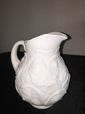 Rare Embossed Floral Design Milk Glass White Glass Carnival Fenton Pitcher Jug