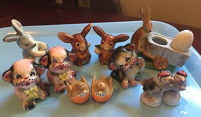 Large Group Of Vintage Antique Salt And Pepper Shakers