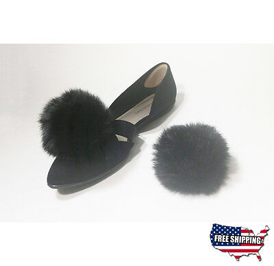 Black Clip on Shoe Accessories Fur Pom Pom
