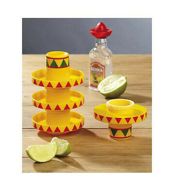Sombrero Slammers Shot Glasses 4 Pack Tequila Novelty Fun Mexican New in Packet