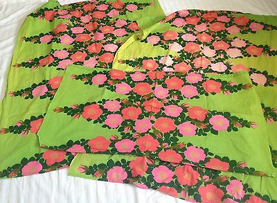 """3pc VTG 45"""" Mid Century Bold Pink Green Floral Cafe Window Curtains Retro Fabric"""