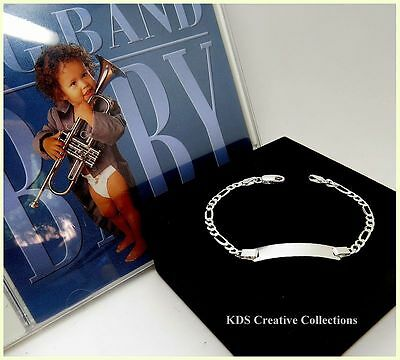 Sterling Silver Engravable Baby,Childs Figaro Plain ID Bracelet 6inch & Music CD