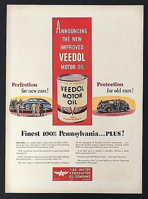 1946 Veedol Motor Oil Original Advertisement AD 100% Pennsylvania Car Protection