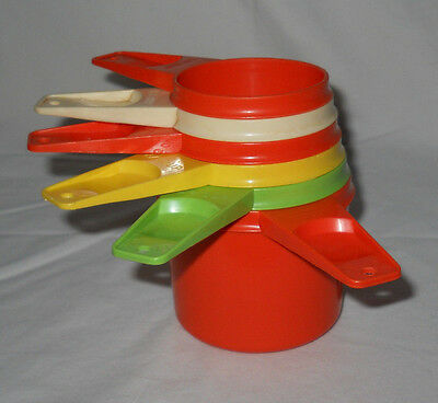 Vintage Tupperware Measuring Cups Complete Set ~  Done In Mixed Colors